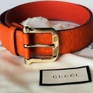 GUCCI Women's Guccissima Orange Belt 90/36 NWT